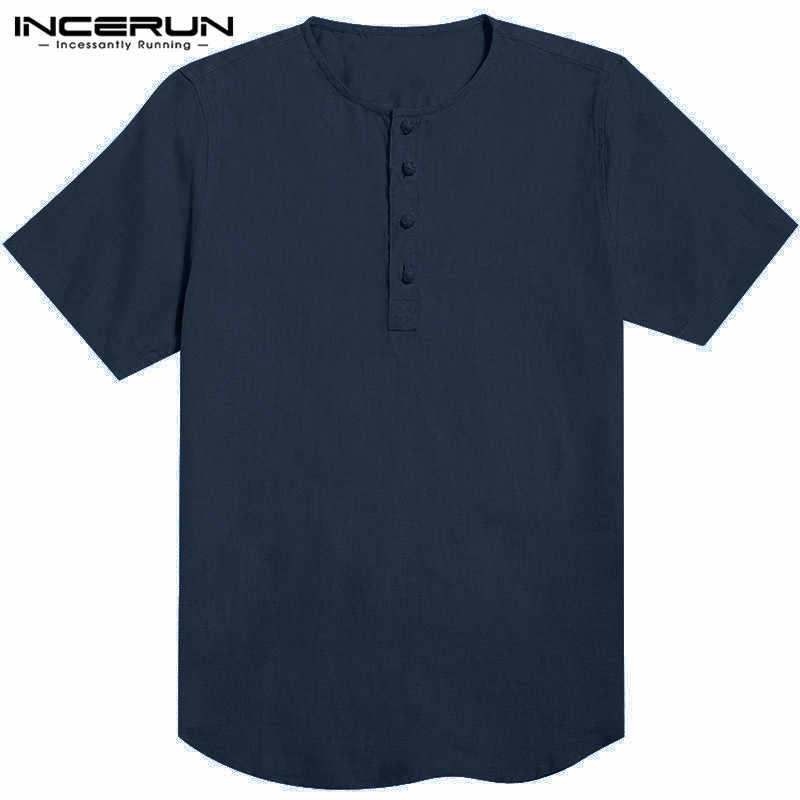INCERUN 5XL 男性のシャツ白夏半袖ボタンルーズフィットカジュアルシャツ綿レトロ Hombre のカミーサファッション男性トップス
