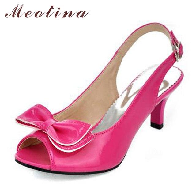 Meotina Giày Sandal Nữ Mùa Hè Giày Người Phụ Nữ Dép Peep Giày Cao Gót Giày Nơ Nữ Gót Vàng Lớn Size 11 12 45 46
