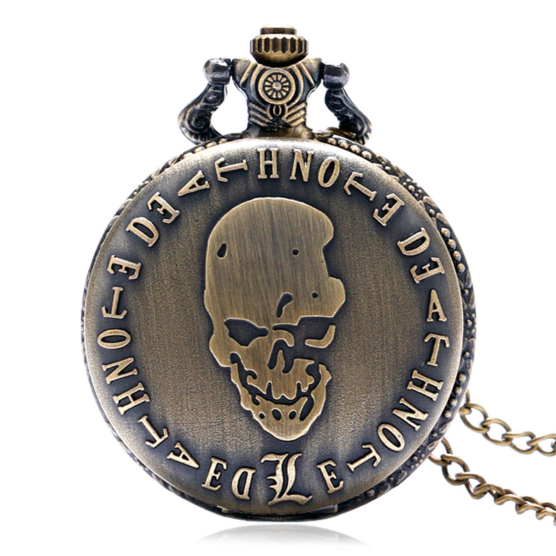 Hot Japanese Animation Death Note Theme Quartz Fob Pocket Watch With Necklace Chain Vintage Pendant Best Gift for Children vintage high quality black death note quartz pocket watch japan anime classic fob clock men women necklace chain gift