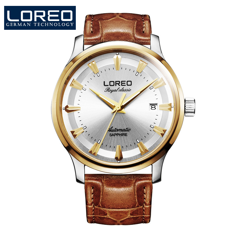 LOREO Germany watches men luxury brand royal classic automatic self-wind mechanical watch sapphire brown Leather belt