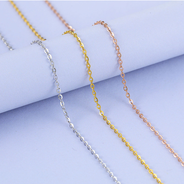 Martick 925 Silver Jewelry 0.8mm O Shape Chain Sweater Necklace 50cm/55cm/60cm Europe Brand Style Bijoux GSC28