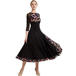 Image 3 - Impressão padrão vestido de salão de baile vestidos de dança padrão flamenco vestido de dança wear traje espanhol vestido de valsa de salão franja