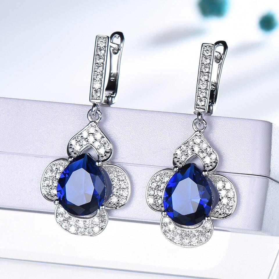 UMCHO classique Sapphoire anneaux bleus boucles d'oreilles collier pendentifs créé bagues saphir pour les femmes cadeau de mariage ensembles de bijoux-in Parures de bijoux from Bijoux et Accessoires    2