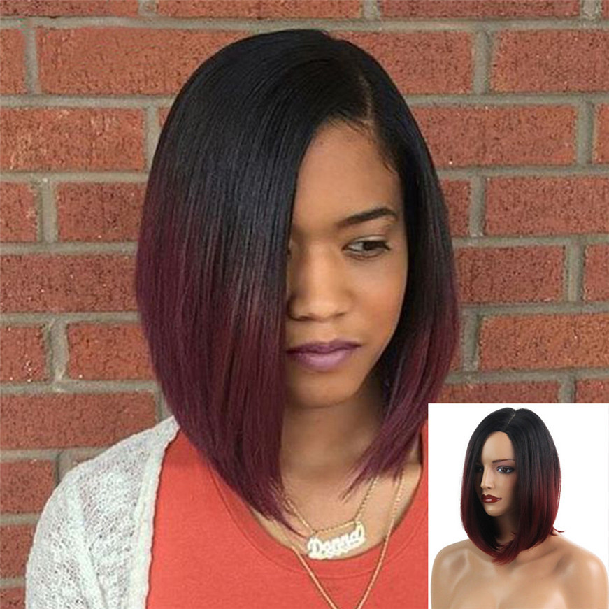 2017 * Women Short Straight Wine Synthetic Hair Wigs Women's Fashion Syntheic Wig short straight full bang handsome capless synthetic wig