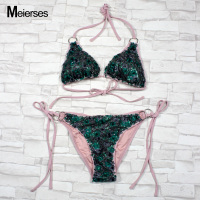 MEIERSES Women S Tie Side Bottom Triangle Bikini Swimsuits Halter Sequins String Ajustable Straps 2 Pieces