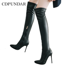 be8d2af2c8ab CDPUNDARI PU Over the knee boots women thigh high boots Pointed Toe Winter  shoes woman Black