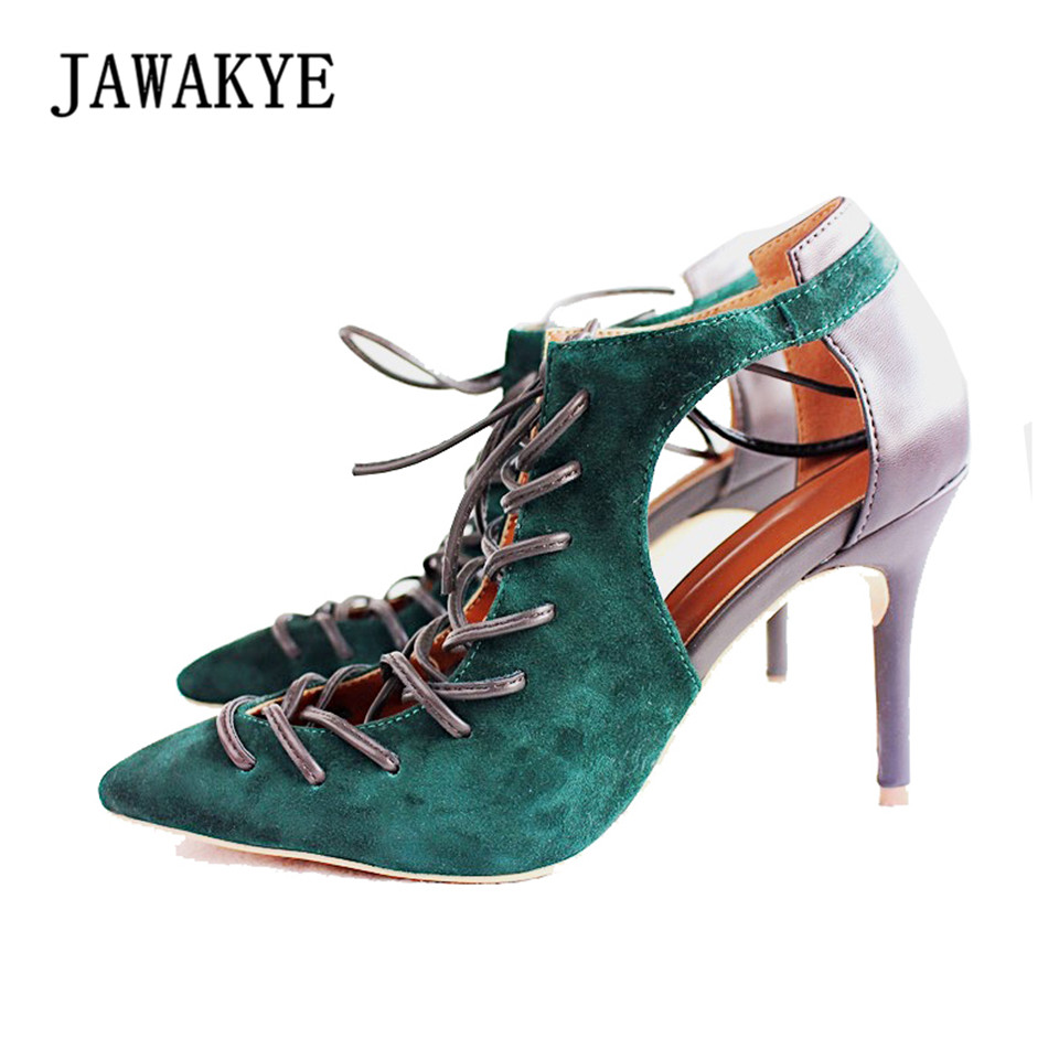 JAWAKYE New Sexy Designer Cut out Lace up Sandals Women Pointed toe Hollow Summer High Heels Women Pumps gladiator sandals women fashionable women s sandals with platform and hollow out design