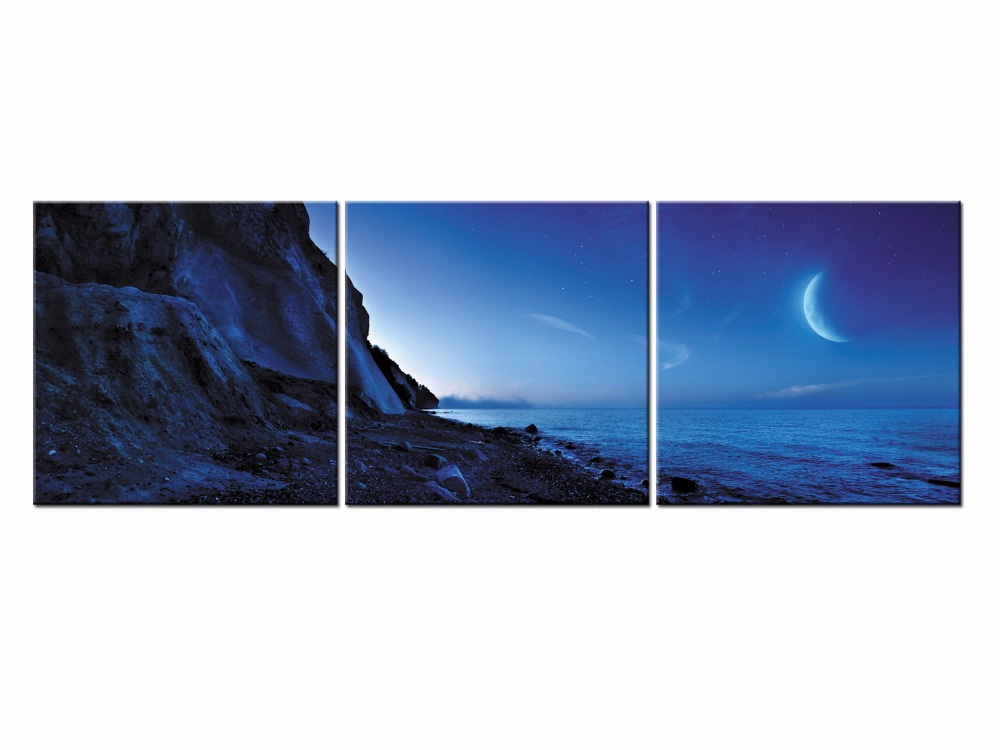3 Piece Modern paintings Home moonlight Sea View Decorative Art Picture Paint on Canvas Prints picture Frame QJFJ3 43 in Painting Calligraphy from Home Garden