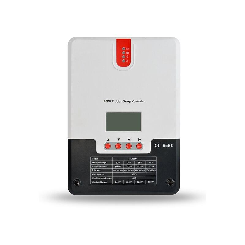 60A 48 36 24 12 v v v v Painel Solar MPPT Controlador de Carga Solar lcd ML4860 SRNE Bateria carregador RV ML4860