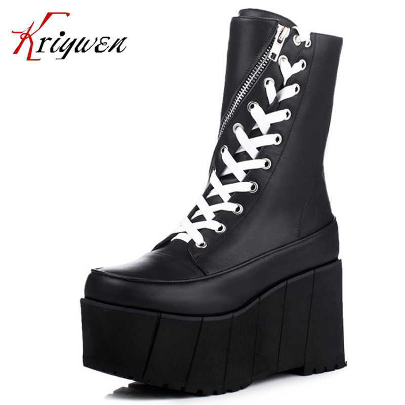 Big size 33-41 Autumn Winter cross strap woman female shoes 2016 Women martin Boots genuine soft Leather wedges mid-calf Boots цена