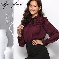 SESOAF Sexy Ruffle Wine Red Chiffon Blouse Women Transparent Bow Ribbon Pearls Button Blouse Shirt 2018