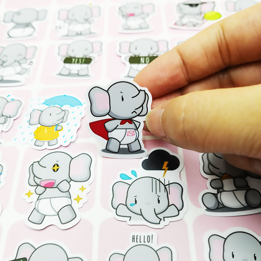 20/40pcs Cartoon Funny Cute Elephant Sticker Diary Sticker Scrapbook Decoration PVC Stationery Sticker Random Not Repeat