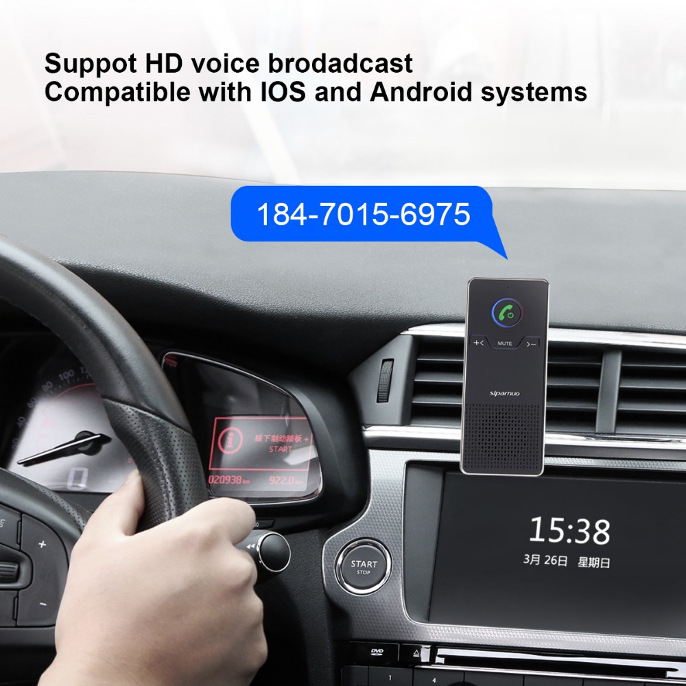 Siparnuo Aux Bluetooth Car Kit Sun Visor Hands Free Speakerphone with USB Bluetooth Voicture Handsfree Carkit in Bluetooth Car Kit from Automobiles Motorcycles