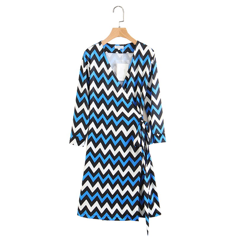 Summer Beach Women Country-style Flowers Print Casual Wrap Deep V-neck Dress for Ladies Blue-black Striped Feminine Clothes 2XL