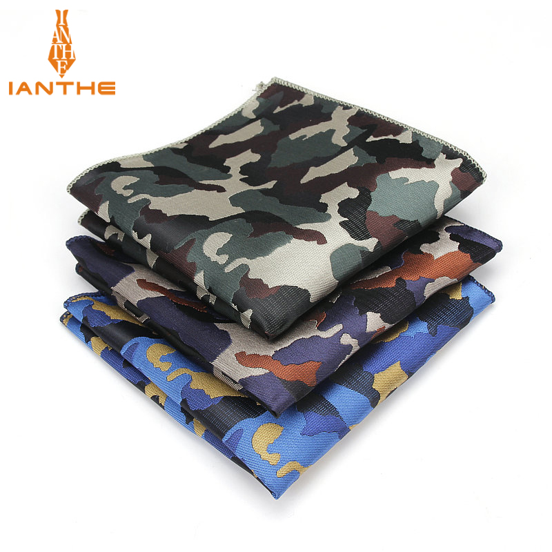 Luxury Men's Handkerchief Camouflage Wowen Jacquard Hankies Polyester Hanky Business Vintage Pocket Square Chest Towel 23*23CM