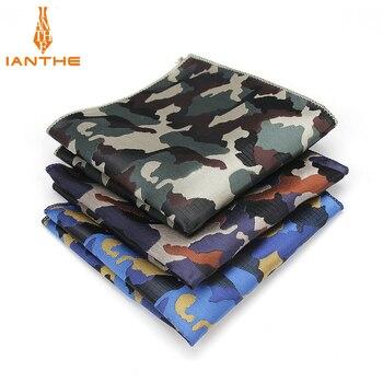 Luxury Men's Handkerchief Camouflage Wowen Jacquard Hankies Polyester Hanky Business Vintage Pocket Square Chest Towel 23*23CM