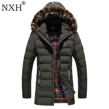 NXH 2017 New arrival Men's winter jacket Warm parkas Regular thick with fur trim hood coats hat detachable Gray Black Armygreen