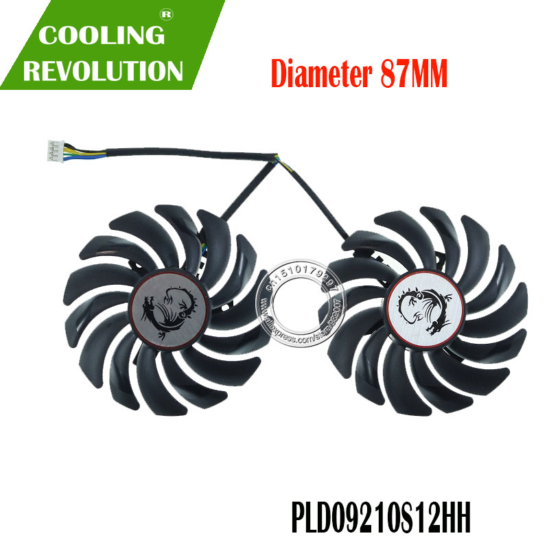 2PCS/lot 4PIN PLD09210S12HH GTX1050 Ti Cooler Fan For GeForce MSI GTX 1050 1050Ti GAMING X Video Card Fan