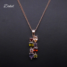 DOKOL Fashion Rose Gold Color Necklaces Mona Lisa Cubic Zirconia Necklace Pendants Australia Crystal Women Jewelry DKN0002