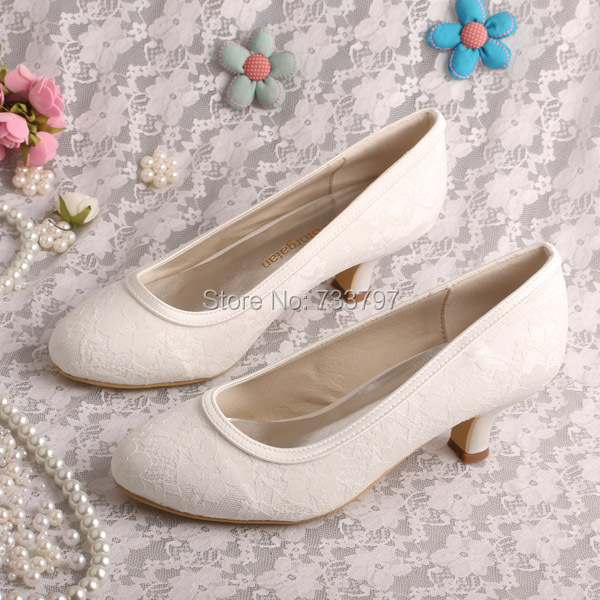 b7fe35077014 Ivory Nude Wedding Shoes Closed Toe Shoes Lace Low Heel Shoes for Women Big  Size