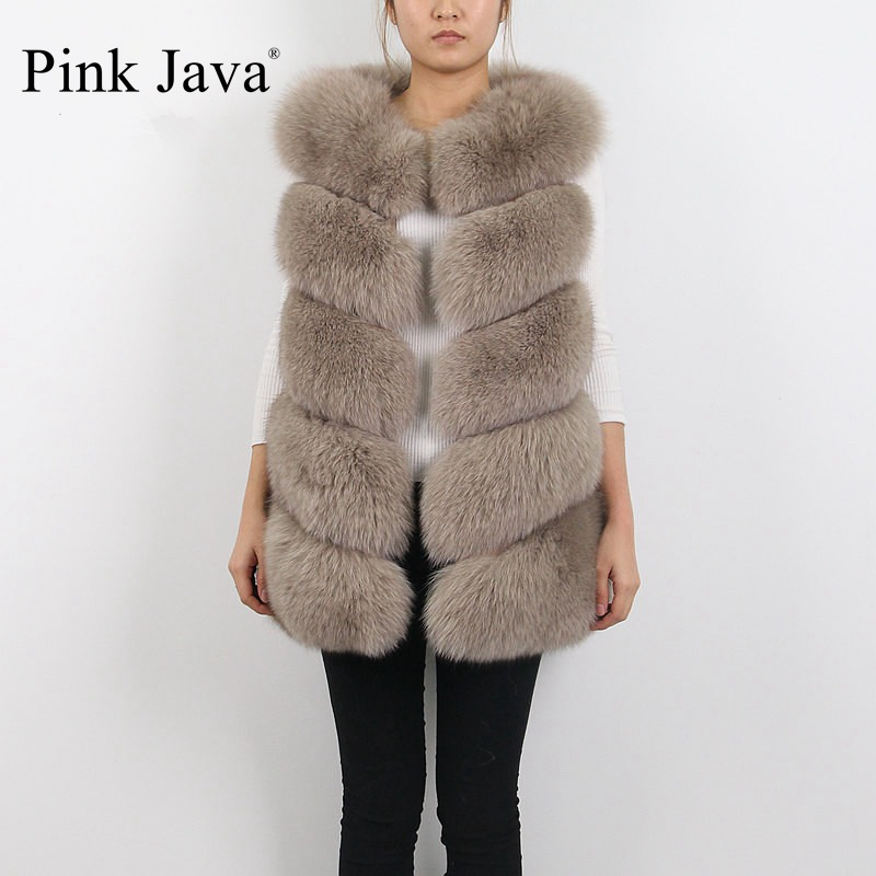 Pink Java Official Store pink java QC8006   FREE SHIPPING high quality real fox fur vest women winter gilet real photos hot sale thick fur coat