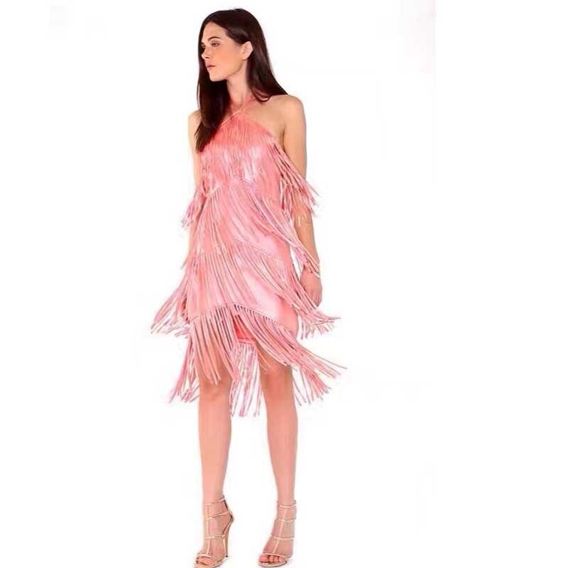 Atacado 2017 Novo Vestido Rosa Elástico apertado Tasse Elegante  temperamento de luxo Elegante temperamento Cocktail party Bandage dress  (L1606) 4667e890bf