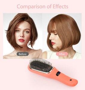 Image 5 - Saç Diva pil işletilen iyonik saç fırçası titreşimli masaj saç çıkma fırçası Mini saç düzleştirici fırça USB