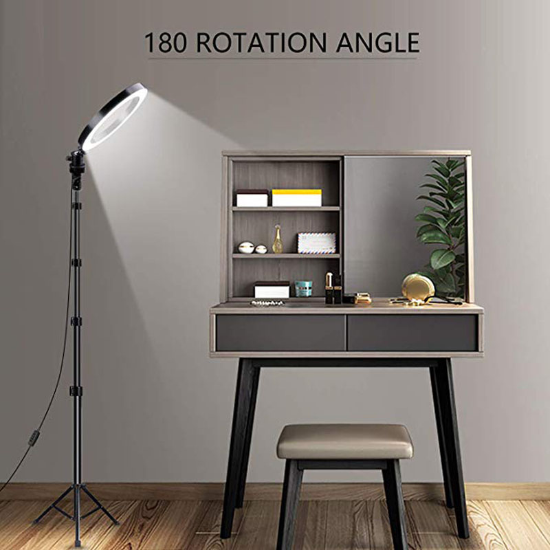 Photography Light Dimmable LED Self-timer Ring Light Live Video 3500-5500k Studio Lights With Mobile Phone Holder USB Plug Tripo
