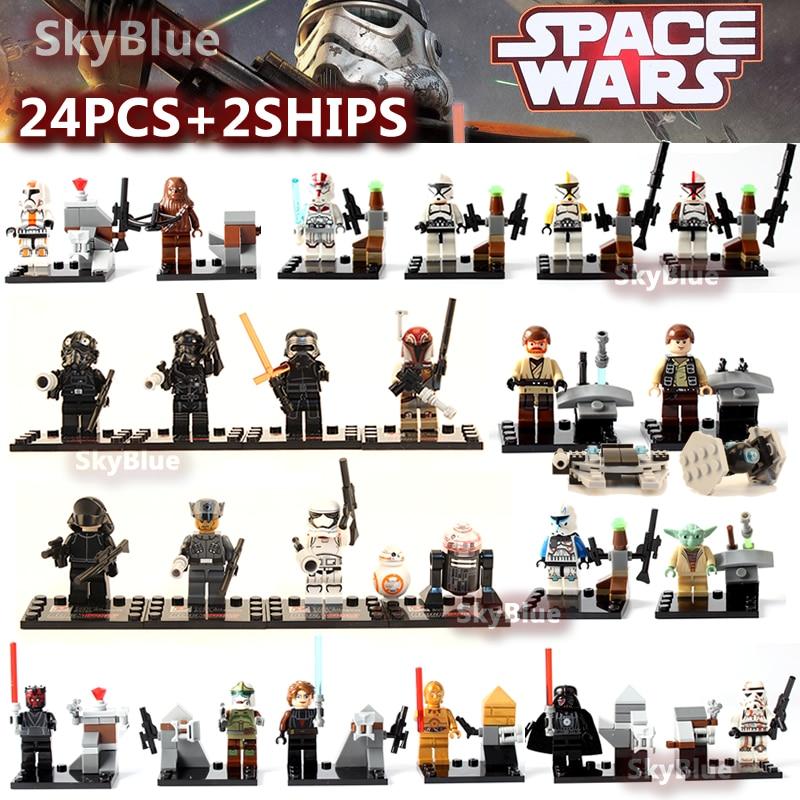 24pcs/lot Building Blocks <font><b>Star</b></font> <font><b>Wars</b></font> Minifigures <font><b>The</b></font> <font><b>Force</b></font> <font><b>Awakens</b></font> Kylo Ren Darth Vader C3PO Yoda Solider Toys Christmas Gifts