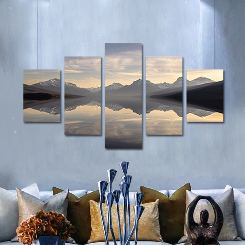 Unframed Canvas Painting Lake Surface Snow Mountain Landscape Photo Prints Wall Pictures For Living Room Wall Art Decoration