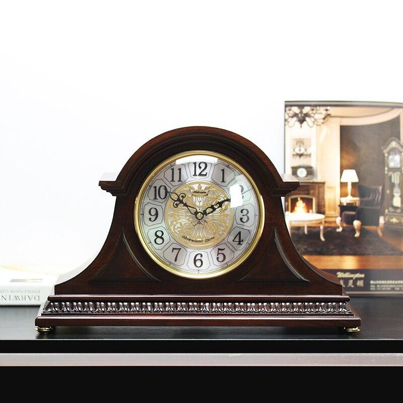 Weilingdun Musique Horaire Carillon Haute Qualité Table Horloge Europe Antique En Bois Muet Quartz Horloge De Bureau T20245