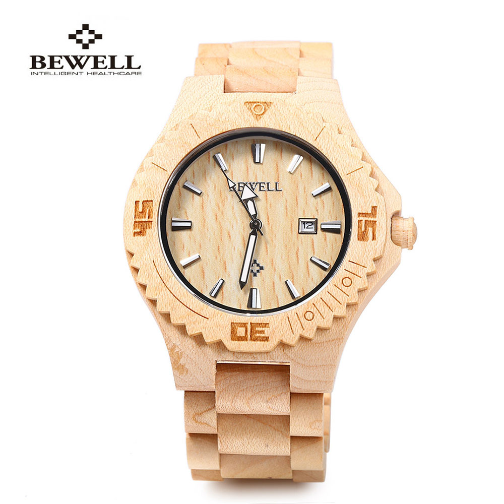 2018 Bewell Top Brand Luxury Wooden Watches Quartz Men Watch Nature Fashion Relogio Masculino Dress Full Sandalwood  Wristwatch