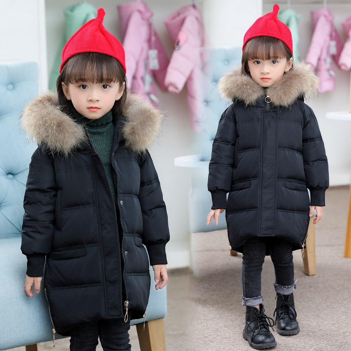 2017 Модная зимняя куртка, пуховик для девочек детское пальто теплая утиным пухом для детей Верхняя одежда для холодной куртка на мороз до -30 г...