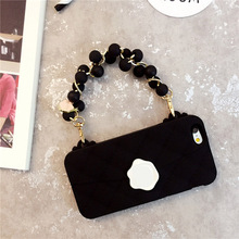 Fashion 3D candy color handbag Pearl Grapes Cluster Design Chain soft silicone phone cover for apple iphone 6 6s 7 plus
