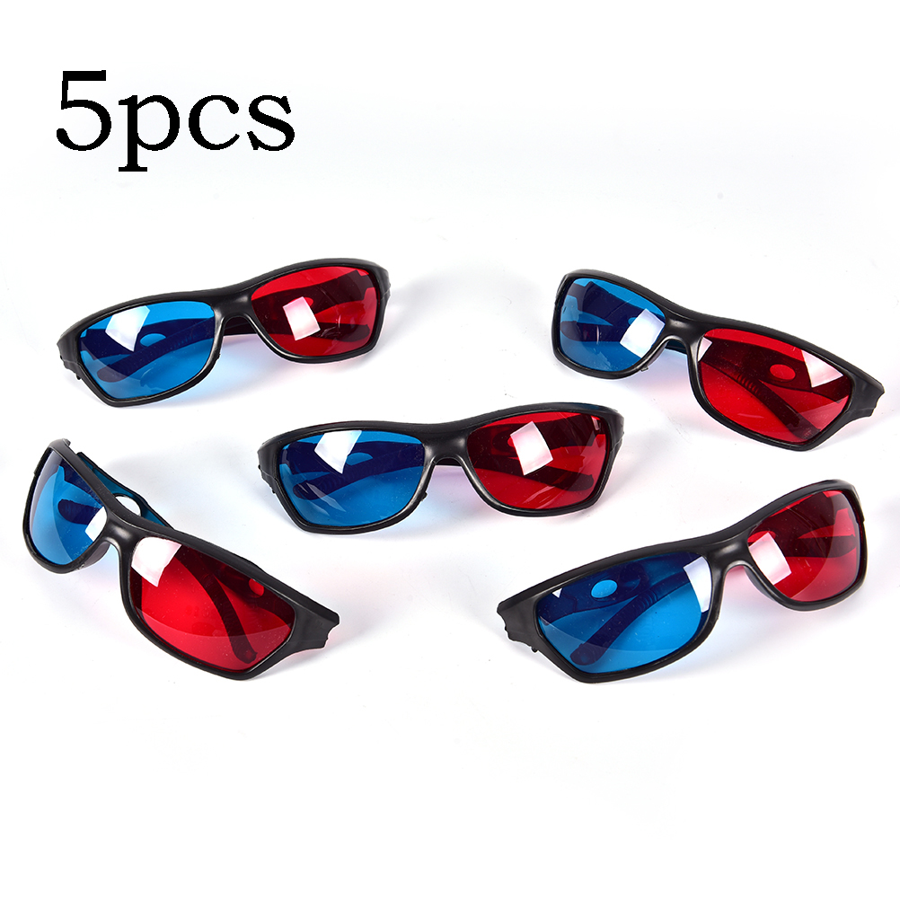 5pcs/set Frame Red Blue 3D Glasses For Dimensional Anaglyph Movie Game DVD Black(China)