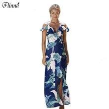 Лето 2017 г. женские v-образным вырезом с плеча шифон длинное платье Флора трапециевидной формы с принтом Пляж сексуальное платье