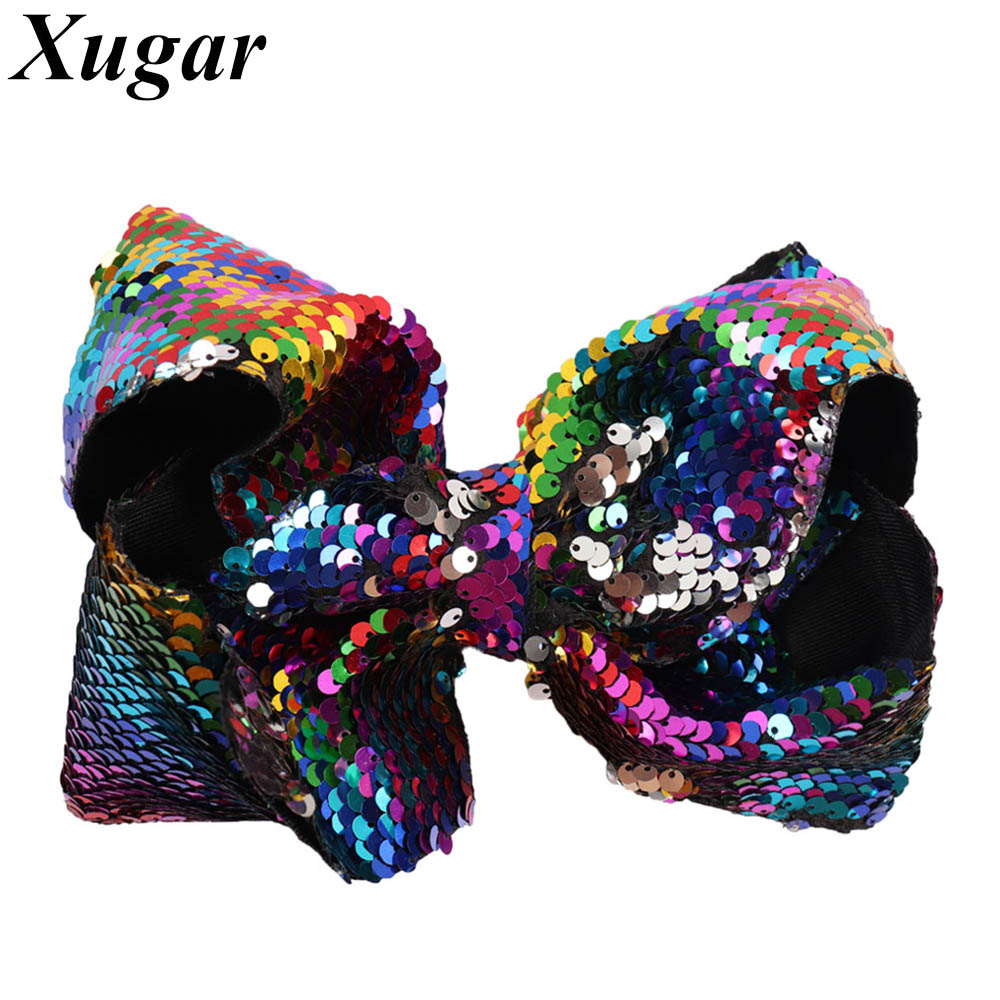 7 Inch Jumbo Reversible Sequin Hairbows for Girls Dance Party Shiny Hairpins Bowknot Hairgrips Kids Hair Accessories Hair Clip halloween party zombie skull skeleton hand bone claw hairpin punk hair clip for women girl hair accessories headwear 1 pcs