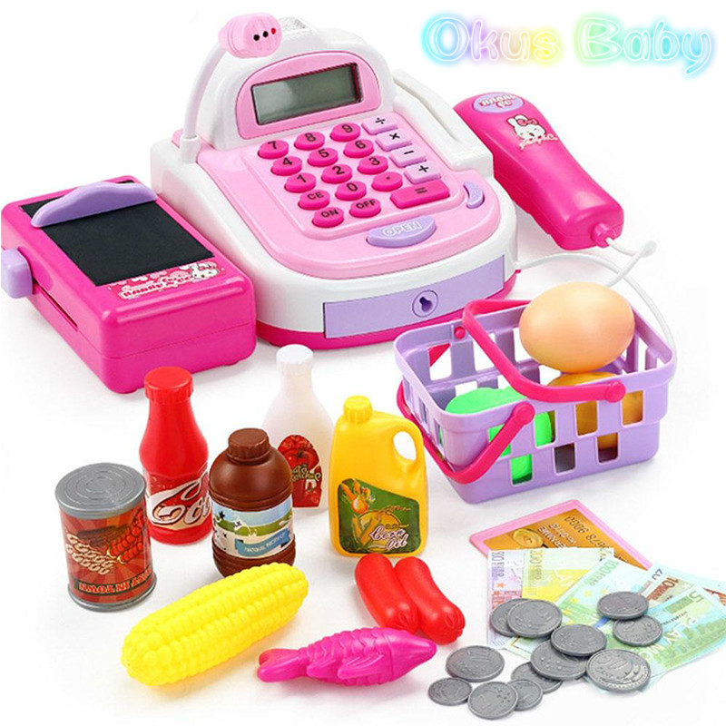 2018 Newest Kids Plastic Cash Register Cashier Pretend & Play Children Early Educational Toy with Shopping Basket