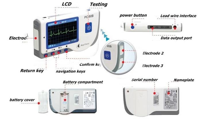 Household Health Monitors Heal Force PC-80B ECG Monitor Measuring Heart Cardiac Detector LCD Electrocardiogram Heart Monitor 1