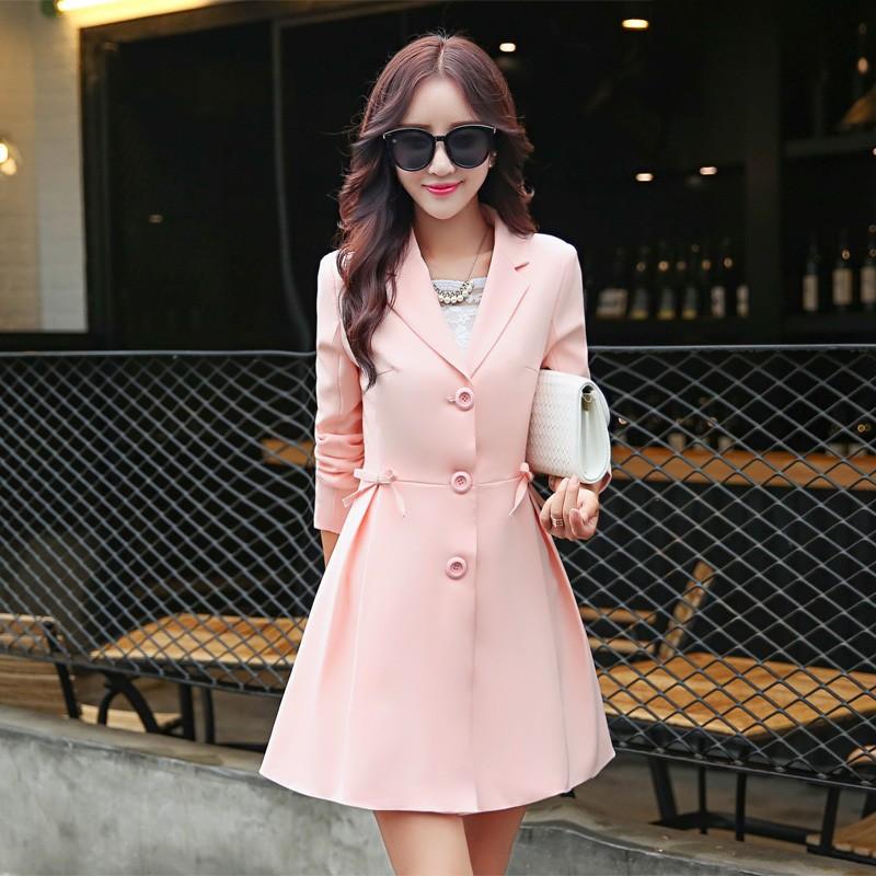 Super Pretty  Elegant Trench Coat Women Windbreaker Ladies Peplum Jacket Pink Grey Green Manteau Femme Silm Long Blazers bbbbbb
