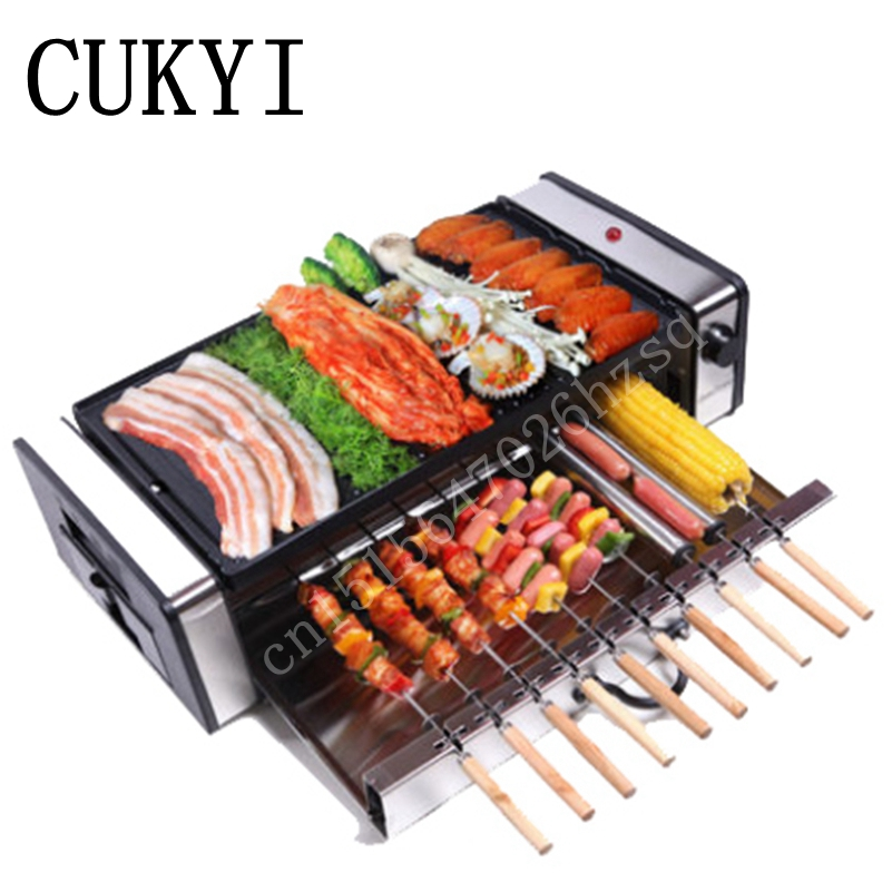 CUKYI Electric Grills & Electric Griddles Multifunctional Double Layers NO smoke Electric BBQ Grill free shipping electric griddles