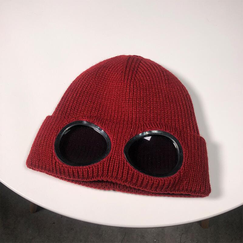 SUOGRY Double-use Thickened Winter Knitted Hat Warm Beanies Skullies Ski Cap with Removable Glasses for Men Women 1