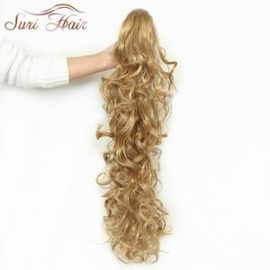 Image 4 - סורי נשים שיער הפאה קוקו תוספות שיער מזויף 32 inch גלי Claw 220 גרם שחור/בלונד 7 צבעים Avaliable