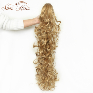 Image 4 - Suri Hair Women HairPiece Ponytail Wavy Claw Fake Hair Extensions 32 inch 220g Black/Blonde 7 Colors Avaliable