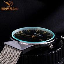 Marca de luxo Dos Homens Relógios Vestido Relógios de Quartzo Relógio de Homens De Quartzo-Relógio de Malha de Aço Strap Ultra-Ultra Fino Relógio Relogio Masculino