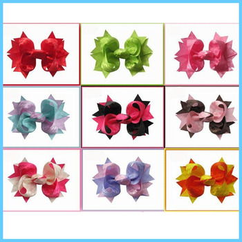 100pcs 4Grosgrain WITH The windmill tinted triangle core inferior smooth ribbon Hair bows and clips Accessories Free Shipping