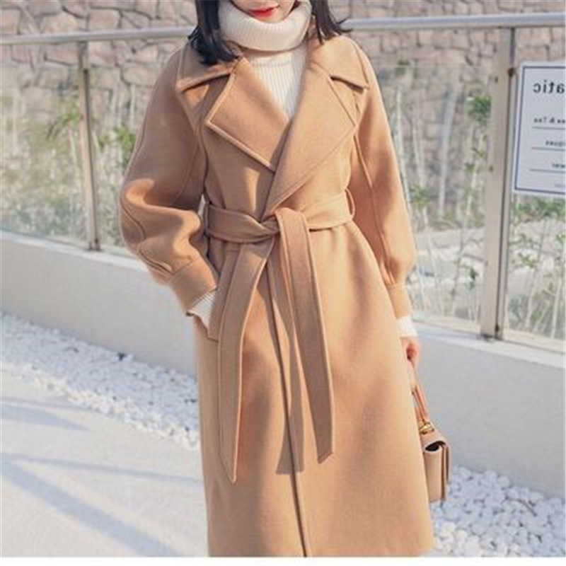 Plus size loose warm wool blends long winter coat turn-down collar adjustable belt wool coats women office work wear elegant J981