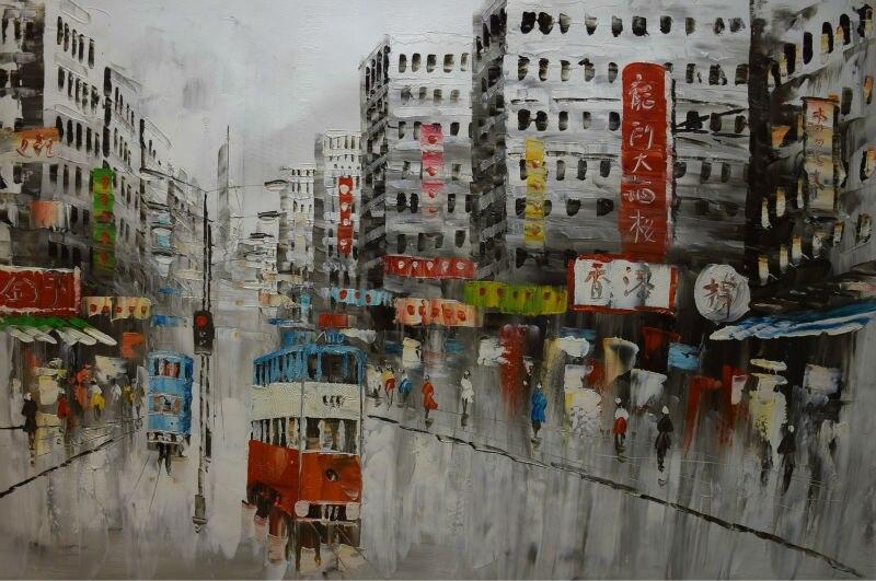 Dipinti Murali E Pittura Ad Ago : ᐂdipinto a mano su tela coltello pittura a olio astratta di hong