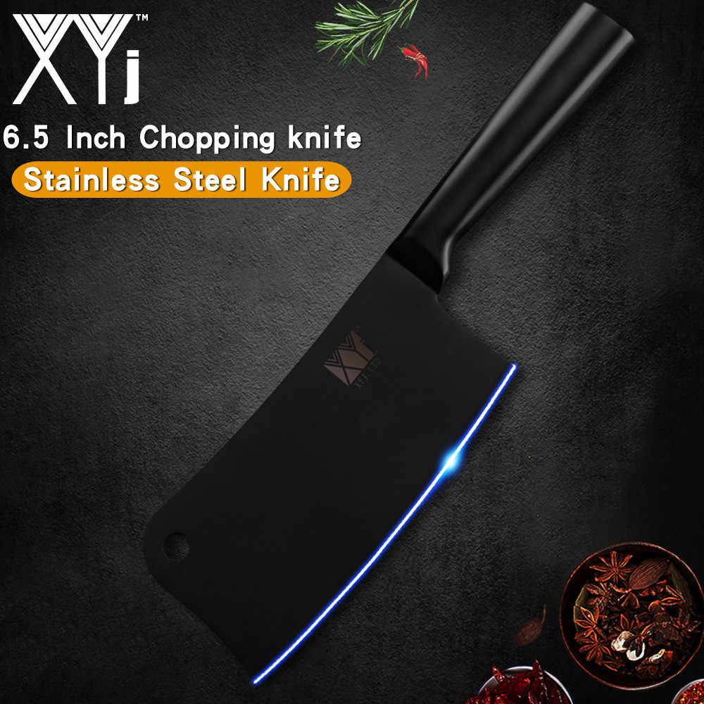 XYj 6.5 inch Stainless Steel Cleaver Knife Seamless Welding Handle Chopping Knife Meat Steak Bone Kitchen Tool Cooking Accessory