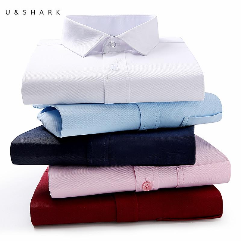 U SHARK Summer Short Sleeve Shirt Mens Dress Shirts Slim Fit Easy Care Cotton Work Shirt